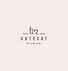 cat logo hipster retro vintage icon line outline vector image