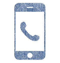 cell phone fabric textured icon vector image