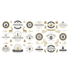 Christmas and happy new year wishes labels and vector