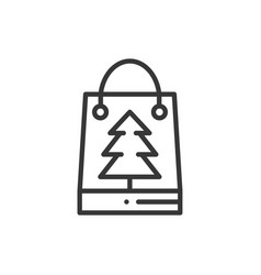 christmas gift thin line icon present shopping vector image
