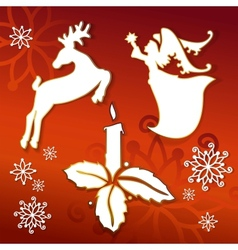 Christmas icons silhouettes vector