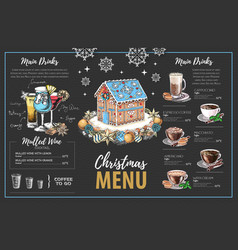 Christmas menu design with sweet gingerbread house vector