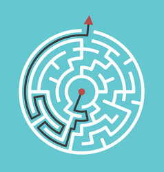 circular maze with solution vector image