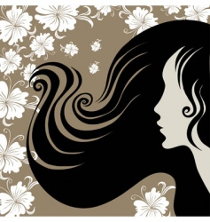 closeup vintage woman with beautiful long hai vector image vector image