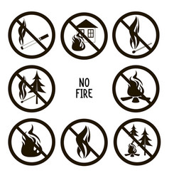 collection no fire icons vector image