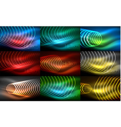 Collection of abstract backgrounds glowing vector