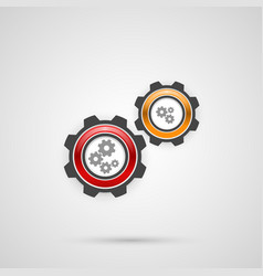 colored gears in connection mechanism vector image