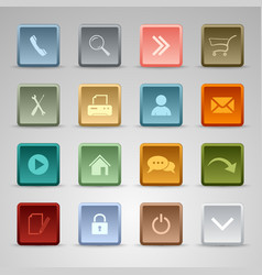Colored set web square buttons template vector