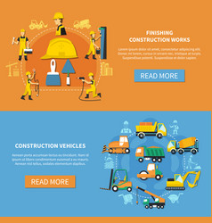 Construction worker banner set vector