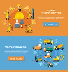 construction worker banner set vector image