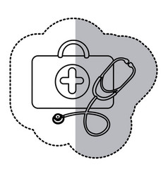 Contour suitcase health with stethoscope icon vector