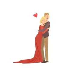 Couple In Love In Classy Outfits Hugging vector