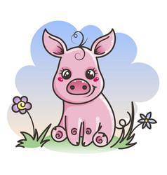Cute cartoon baby pig vector
