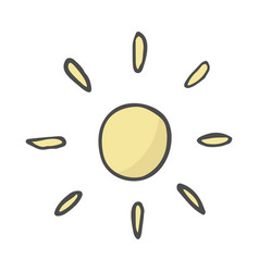 cute cartoon hand drawn sun drawing sweet vector image