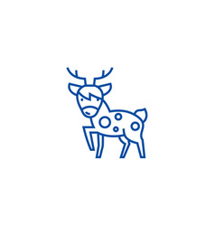 cute deer line icon concept cute deer flat vector image