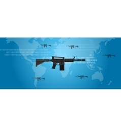 cyber warfare concept gun digital code world wide vector image