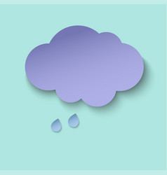 dark paper cut cloud and rain drops 3d paper art vector image
