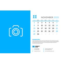 Desk calendar template for november 2020 week vector