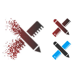 Dispersed pixel halftone ruler and pencil design vector