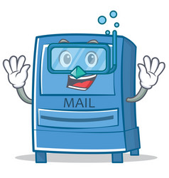 diving mailbox character cartoon style vector image