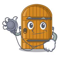Doctor cartoon wooden door massive closed gate vector