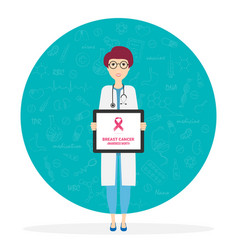 Doctor describes about cause to breast cancer vector