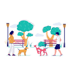dog walking in park flat vector image