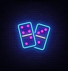 domino neon logo domino neon sign design vector image