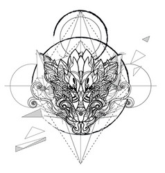 Dragon head hand drawn sketch vector