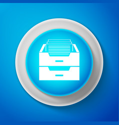 drawer with documents icon on blue background vector image