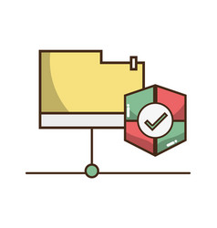 Electronic file with shield symbol icon vector