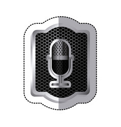 emblem microphone icon stock vector image