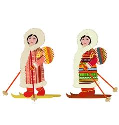 Eskimo girl in ski bag vector