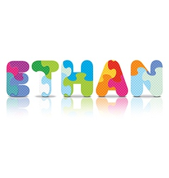 Ethan written with alphabet puzzle vector