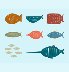 Fish clipart set for commercial use vector