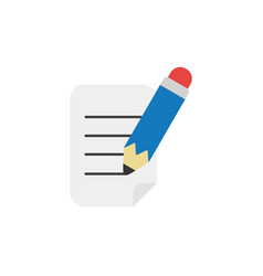 flat design style concept of writing paper with vector image