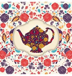 floral teapot vector image
