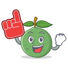 Foam finger guava mascot cartoon style vector