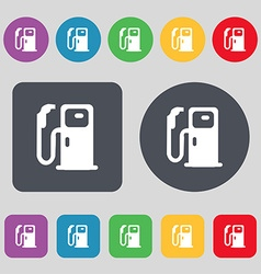 Fuel icon sign A set of 12 colored buttons Flat vector image