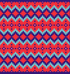 geometric seamless red blue chevron pattern pixel vector image