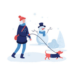 girl walking dog in winter park flat vector image