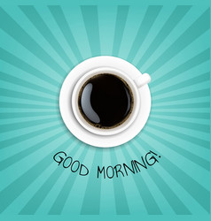 good morning banner with cup coffee vector image