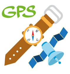Gps logo watches and satellite color location vector