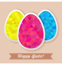 Greeting easter card with triangles eggs vector image vector image