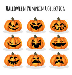 halloween pumpkin collection vector image