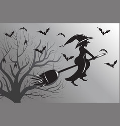 Halloween witch flying silhouette vector
