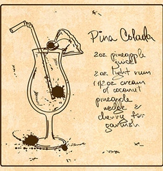 Hand drawn Pina Colada cocktail vector
