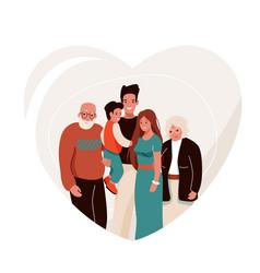 Happy family in heart shape vector