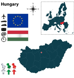 Hungary and European Union map vector image
