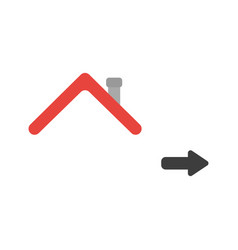 icon concept of house roof with arrow moving right vector image